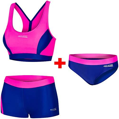 Aqua Speed Set Bikini + Bikinihose Damen | Zweiteilige Badebekleidung Sport | Zweiteiler | 2-Piece Swimsuit | Schwimmbikini Frauen | sportliche Bademode | Gr. 42, 43 Neon Pink - Navy | Fiona