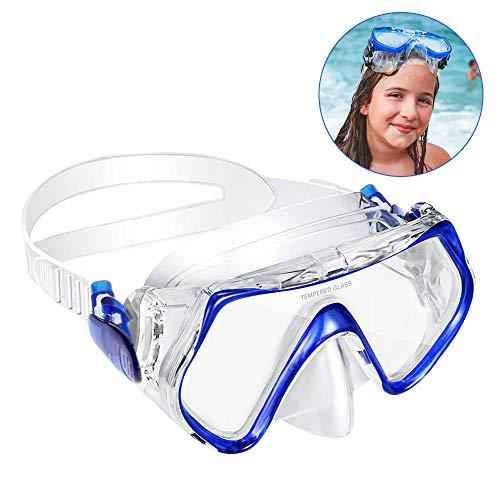KOROSTRO Taucherbrille Kinder, Schnorchelbrille Schwimmbrille Kindertaucherbrillen Tauchmaske, Wasserdicht, Lecksicher, UV Schutz, Verstellbares Silikonband, Geeignet für 4-10 Jahre - Blau