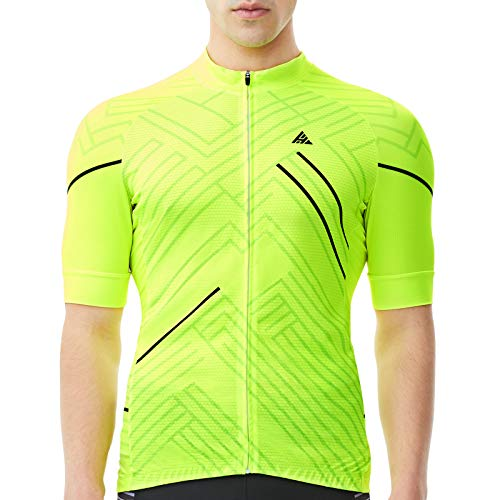 HIKENTURE Radtrikot Herren Kurzarm - [Signalfarbe] - Rennrad MTB Trikot Damen - Auffälliges Fahrrad Trikot für Mountainbike Männer - Sichtbare Fahrradbekleidung als MTB Cycling Jeresy Bike Shirt-3XL