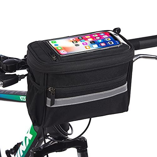 SYUER Fahrrad Lenkertasche, Fahrradkorb mit | Berührbare transparente Handytasche, kalte und warme Isolierung, Netztasche, Schultergurt, Regenschutz | Fahrrad-Fronttaschen zum Radfahren (Schwarz)