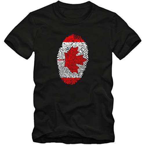 Herren T-Shirt Canada Kanada Ahorn Blatt Eishockey Fußball Trikot Fingerabdruck WM EM, Farbe:schwarz, Größe:XL
