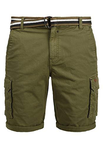 Blend Brian Herren Cargo Shorts Bermuda Kurze Hose Mit Gürtel Regular Fit, Größe:M, Farbe:Martini Olive (77238)
