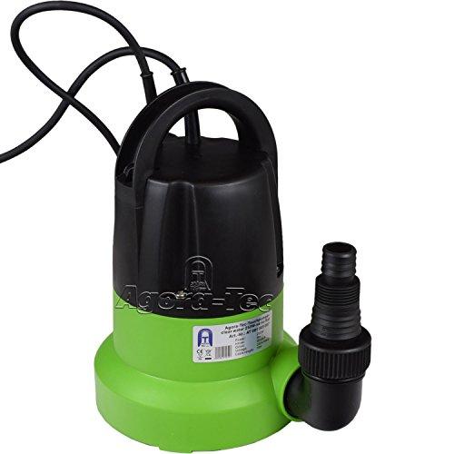 Agora-Tec® at-Tauchpumpe Clear Water 250W-vario- Control Flat flachsaugend auf 1 mm mit integrierten Sensor-Schwimmerschalter und max: 0,6 bar und max: 6000l/h