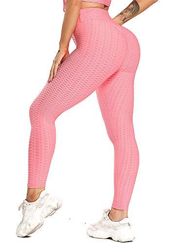 INSTINNCT Damen Slim Fit Hohe Taille Sportshort Lange Leggings mit Bauchkontrolle Rosa S