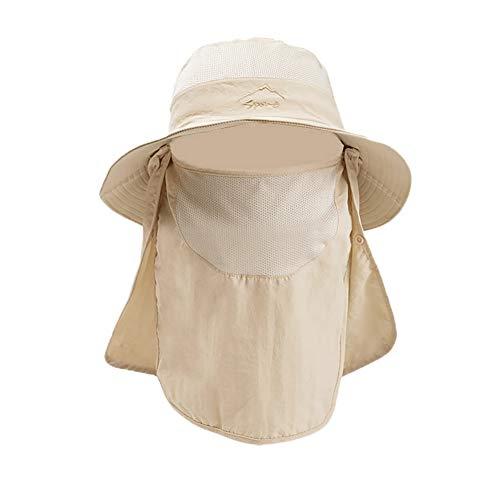 KISSBELLY Sonnenhut Herren Damen Sonnenschutz Wanderhut mit Gesichts- und Nackenschutz, Sommerhut für Outdoor Angeln Wandern Reisen