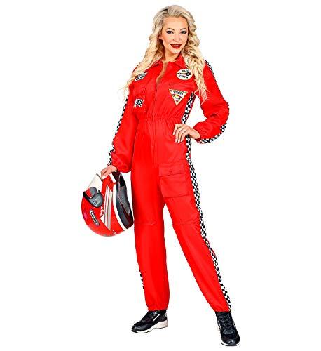 Widmann Rennfahrer Kostüm Overall Jumpsuit rot Anzug exklusiv (Damen Overall, Medium)