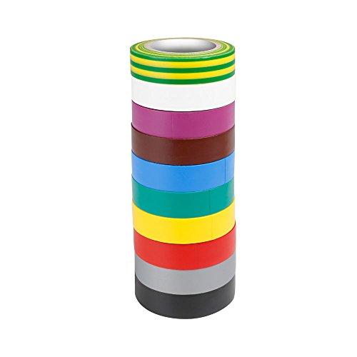 ah Accessories 580813RNB10 10 Farben Isolierband Set (0,13 x 15 mm x 10 m)