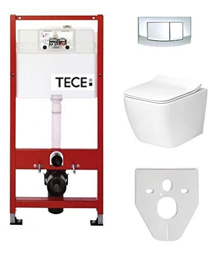 Tece Vorwandelement Base inkl. Drückerplatte chrom + Lavita Wand WC Lino ohne Spülrand + WC-Sitz mit Soft-Close-Absenkautomatik