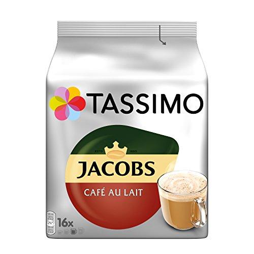 Tassimo Kapseln Jacobs Café au Lait, 80 Kaffeekapseln, 5er Pack, 5 x 16 Getränke