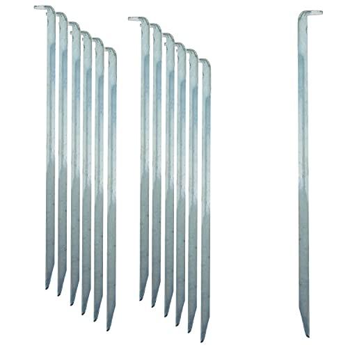 ToCi 12 x Zelt-Heringe | Stahl verzinkt 22 cm lang | Lange und robuste Zelthaken Erdnägel für Camping und Outdoor | Sandheringe mit V-Profil