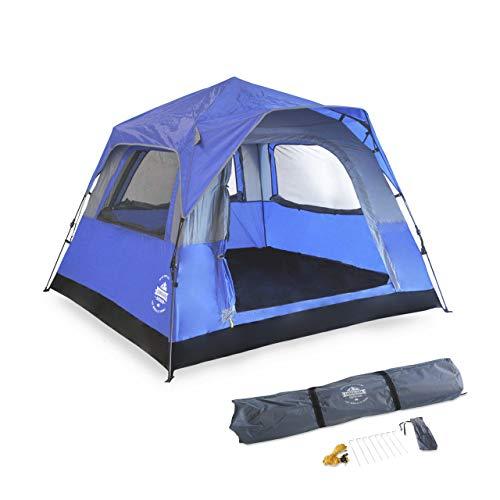 Lumaland Leichtes Outdoor Pop Up Comfort Zelt Wurfzelt für 2-3 PersonenZelt Camping Festival Sekundenzelt 210 x 210 x 140 cm Tragetasche Blau