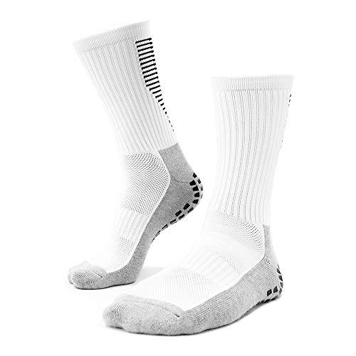 Playwear Fußball Socken rutschfest Weiß   1 Paar 40-46 Herren Grip Socks   Anti Slip Strumpf mit Sport Sneaker Fit für Trekking Wandern Basketball Tennis Football