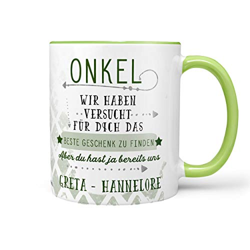 Sunnywall Onkel Tasse Kaffeebecher Lieblingstasse Geburtstags-Tasse Geschenk-Tasse inkl. gratis Geschenkkarte Finden wir grün