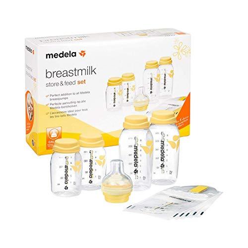 Medela Flaschenset – BPA-freies Set mit 150 und 250 ml Flaschen – Mit Calma Sauger zum Abpumpen, Aufbewahren und Füttern von Muttermilch – Gefrier- und kühlschranksicher gestaltete Flaschen