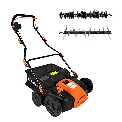 DELTAFOX Elektro Vertikutierer Rasenlüfter - 1500W Turbo Power Motor - hohe Durchzugskraft - Überlastschutz - 40l Fangsack - 36cm Arbeitsbreite - große Räder - bis 600m²