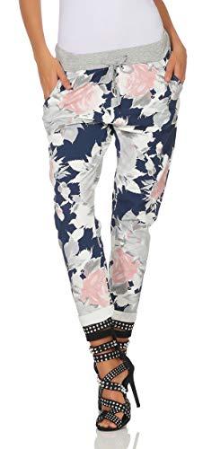 Mississhop 287 Damen Hose Cargohose Blumen Sweatpants Jogginghose Baumwolle Freizeithose Boyfriend Model 2 (Blau rosa-weiß Blumen)