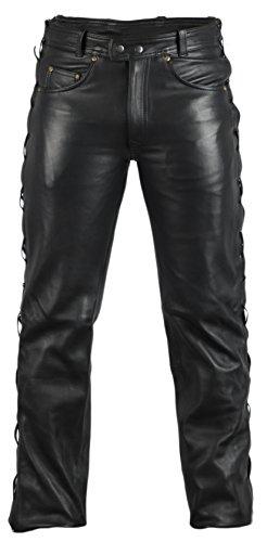 MDM Lederjeans Lederhose Bikerjeans Rockerjeans Motorradhose seitlich geschürt schwarz (40)
