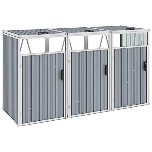 Festnight Mülltonnenbox für 3 Mülltonnen Mülltonnenverkleidung Müllcontainer 3 Tonnen Müllbox Gartenbox Mülltonnenschrank Abfalltonnenschrank, Grau 213×81×121 cm Stahl