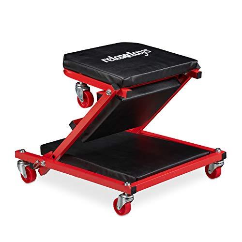 Relaxdays Rollbrett Werkstatt bis 150 kg, 2in1 Rollsitz & Werkstattliege klappbar, 360° drehbar, f. Auto, Stahl, schwarz