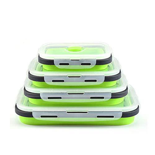 DUBENS Silikon Faltbare Frischhaltedosen 4 TLG, faltbar, für Lebensmittel Aufbewahren, Einfrieren und Erwärmen, Lunchbox/Bento, mikrowellen, spülmaschinen, gefrierschrank, ofenfest (Grün)