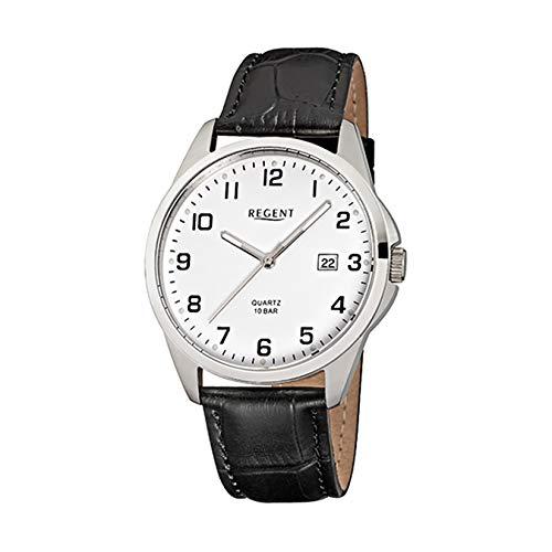 Regent Herren-Armbanduhr Elegant Analog Leder-Armband schwarz Quarz-Uhr Ziffernblatt weiß URF913