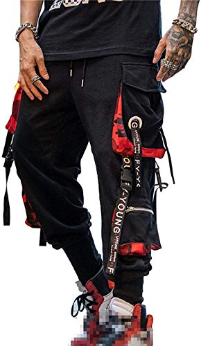Hello MrLin Herren Techwear Hosen Hip Hop Jogger Cargo Pants Baggy Streetwear Punk Hose (Schwarz, XX-Groß)