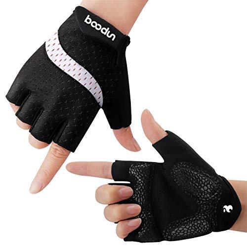 boildeg Fahrrad Handschuhe Fingerlos Fitness Handschuhe Atmungsaktiv Rutschfestes Stoßdämpfende Radsporthandschuhe für MTB Fitness Damen und Herren (Schwarz-Weiß, S)