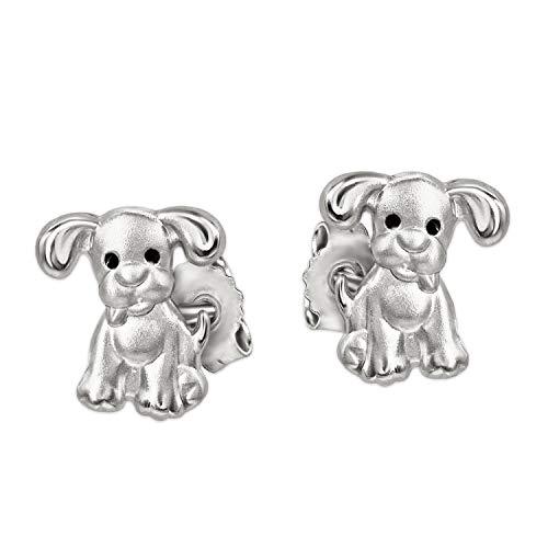CLEVER SCHMUCK Silberne sehr kleine Kinder Ohrstecker Mini Hunde 6 x 5 mm mit schwarzen Augen Sterling Silber 925 im Etui rosa