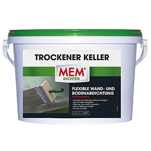 MEM Trockener Keller - 5 KG - Hochflexible Wand- und Bodenabdichtung gegen drückende Feugtgkeit - Für trockende und nasse Untergründe - Für alle Mauerwerke, Beton, Estrich, Kalksandstein, usw.