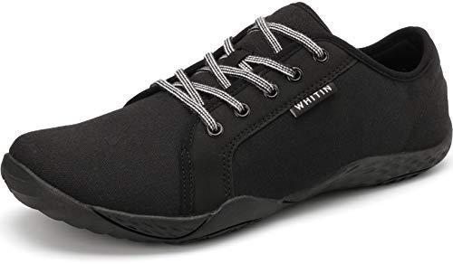 WHITIN Herren Canvas Sneaker Barfussschuhe Traillaufschuh Barfuss Schuhe Barfußschuhe Barfuß Zehenschuhe Minimalistische Training Laufschuhe für Männer Jungen Sportschuhe Trekkingschuhe Schwarz 40 EU