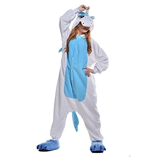 FREE FISHER Damen/ Herren Schlafanzug Pyjama, Tier Kostüm, Blau Einhorn, XL (Körpergröße 178-188 cm)