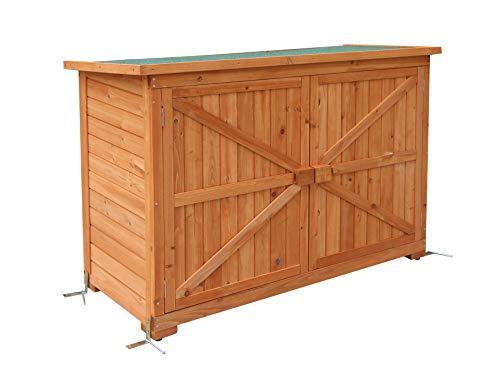 MCombo Gartenschrank Geräteschuppen Werkzeugschrank Outdoor-Schrank Gartenbox 1280 aus Holz Natur, 50 X 128 X 88 cm