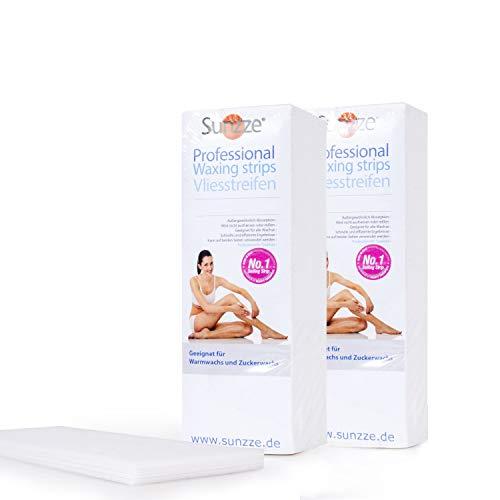Sunzze Vliesstreifen 600Stck 2x300Stck für die Enthaarung mit Warmwachs Profi Packung. für die Haarentfernung mit Warmwachs und Zuckerpaste