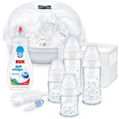 NUK First Choice Plus Glas Babyflaschen Starter Set + Flaschenbürste mit integrierter Saugerbürste + Spülmittel für Babyflaschen & Sauger + Micro Express Plus Mikrowellen Sterilisator