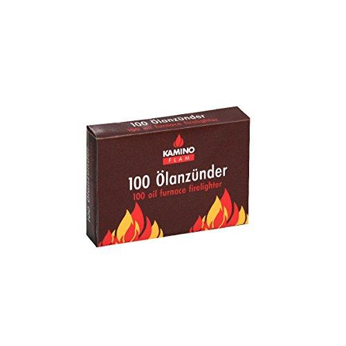 KaminoFlam Ölanzünder 100 Streifen - Ofenanzünder für Brennertopf im Ölofen - Ölofenanzünder sicher, schnell & sauber - Anzündhilfe Ofen