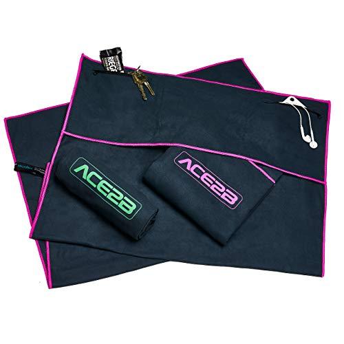 ace2b Fitness Sport Handtuch Mikrofaser – schnelltrocknend, platzsparend, leicht / 2 Taschen mit Überzug für Gerätetraining, Fitnessstudio, Gym / 120x55cm XL groß (pink)