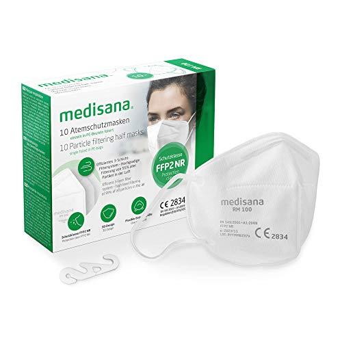 medisana FFP2 Atemschutzmaske Staubmaske Atemmaske, RM 100, Staubschutzmaske Mundschutzmaske 10 Stück einzelverpackt im PE-Beutel mit Clip - zertifiziert CE2834 - EU 2016/425 - TÜV geprüft