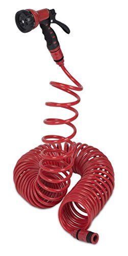 Kreator KRTGR6703 Spiral Gartenschlauch 1/2 Zoll Wasserschlauch Gartenbrause 15 m + Wandhalterung