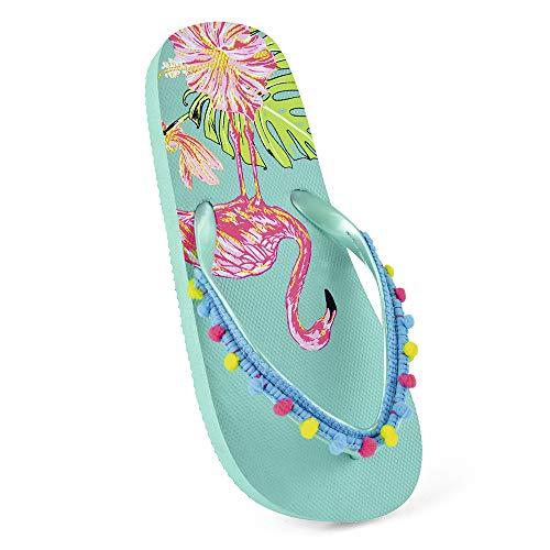 Mädchen Kinder Flamingo Flip Flops mit Pom Pom, Blau - aqua - Größe: 46 EU