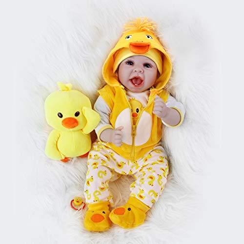 ZIYIUI Simulation Reborn Babys 22 Zoll 55 cm Reborn Babypuppen Weiche Vinyl Silikon Lebensechte Blaue Augen Reborn Dolls Mädchen Junge Spielzeug Geschenk