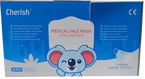Cherish Kinder Mund-Nase-Schutz Vlies 3-lagig mit Nasenbügel und Elastischem Band 50 Stück