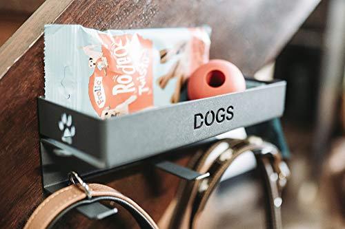 Hundeleinen Garderobe mit Ablage aus pulverbeschichtetem Metall, zeitlos & modern - Hundegarderobe für Hundeleinen & Hundezubehör, Leinenparkplatz für Hundebesitzer, Leinengarderobe (Anthrazit)