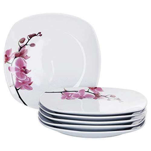 Van Well Kyoto 6er Dessert-Teller-Set eckig I Robustes Porzellan-Geschirr mit Orchidee-Dekor I Moderne Kuchenteller mit Blumen-Muster I mikrowellen- & spülmaschinengeeignet I Teller klein 6 Stück