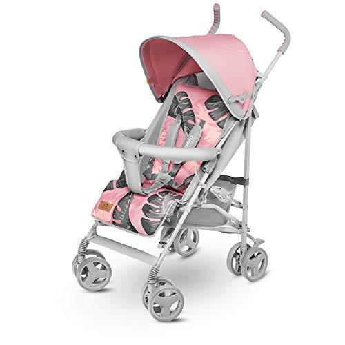Lionelo Elia Buggy klein zusammenklappbar Kinderwagen, ab 6 Monaten bis 15 kg belastbar, Moskitonetz, Fußdecke, Regenschutz (Tropical Pink)