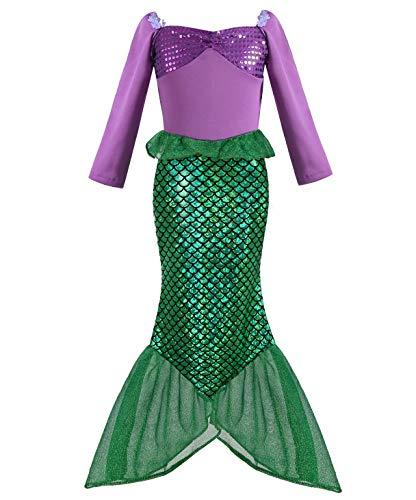 Geplaimir Meerjungfrau Kostüm Kinder Mädchen Dress Up Arielle Kostüme Prinzessin Kleider Cosplay Kinder Outfits Fischschuppen Geburtstag Party Badeanzug Ankleiden Größe 002M (3-4 Jahre)