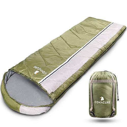 COVACURE Schlafsack Camping - Leicht, Kompakt, Wasserdicht, Warm für 4 Jahreszeiten Outdoor, 210 x 78 cm für Erwachsene & Kinder