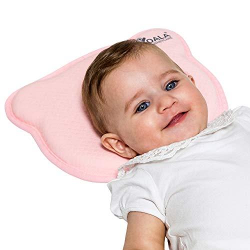 Babykissen Plagiozephalie, abnehmbar (mit zwei Kissenbezügen), hilft ein Plattkopfsyndrom vorzubeugen und zu behandeln. Aus Memory Foam - Rosa - Registriertes Design KBC®