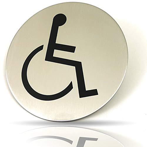 Kerafactum Behinderten WC Schild Rolli Rollstuhl Fahrer Rollstuhlfahrer Toilettenhinweis Hinweisschild Türschild Toiletten Rund aus Edelstahl Matt glänzend Pictogramm rundes Schild Selbstklebend
