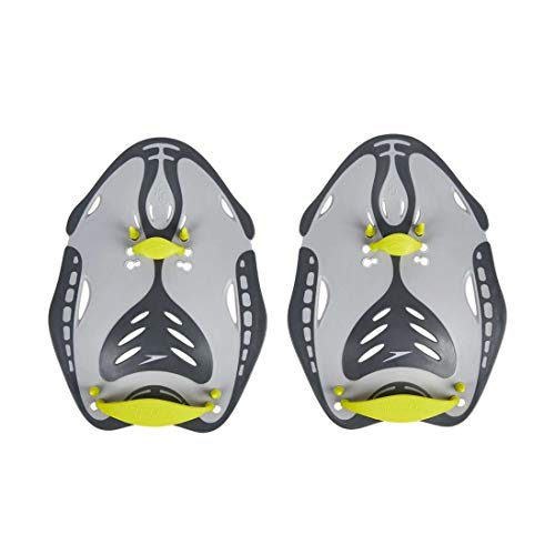 Speedo Power Paddle Fingerpaddel, Handpaddel, Grau/Limette, Größe M