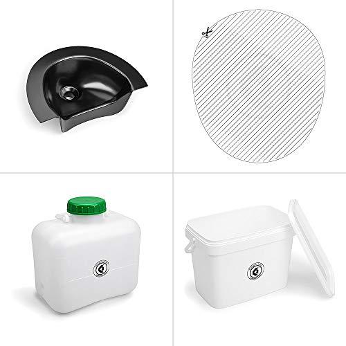 Kildwick Bausatz Komposttoilette ohne Gehäuse Kompakt Urin Separator schwarz